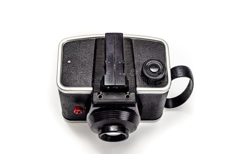 Kamera 1950 rocznik na odgórnego widoku bielu tle zdjęcia stock