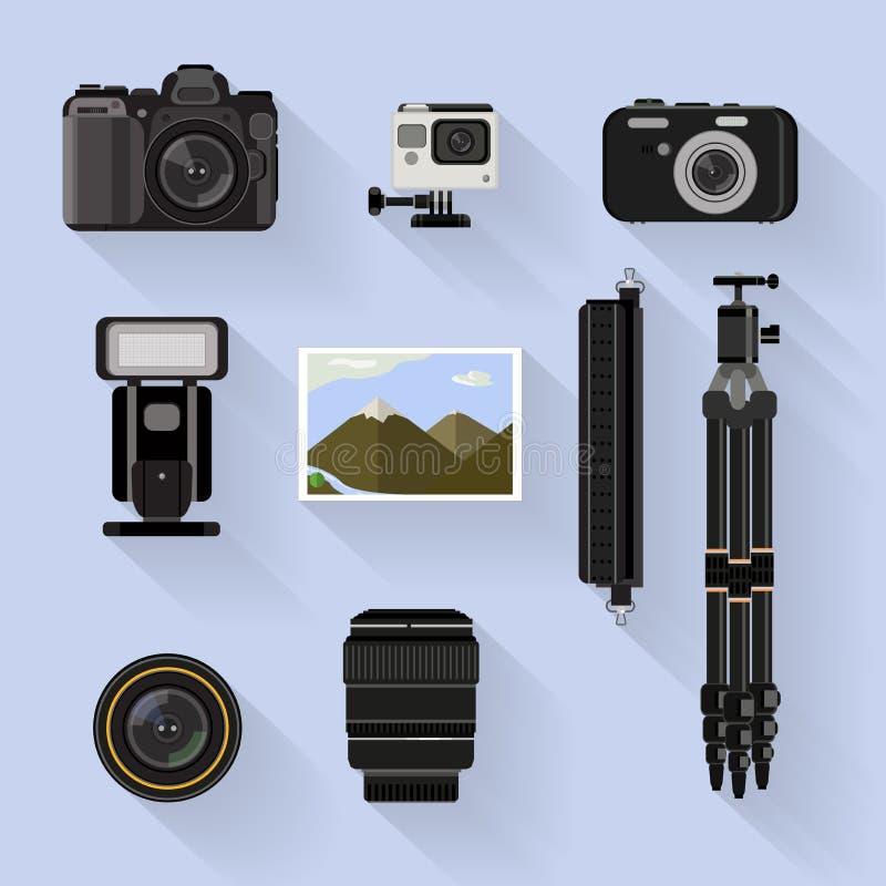 Kamera set płaska graficzna fotografii kamera, narzędzia i ustawiamy na błękitnym tle royalty ilustracja