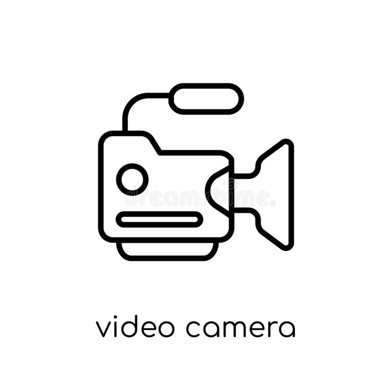 Kamera wideo ikona Modny nowożytny płaski liniowy wektorowy kamera wideo ilustracji