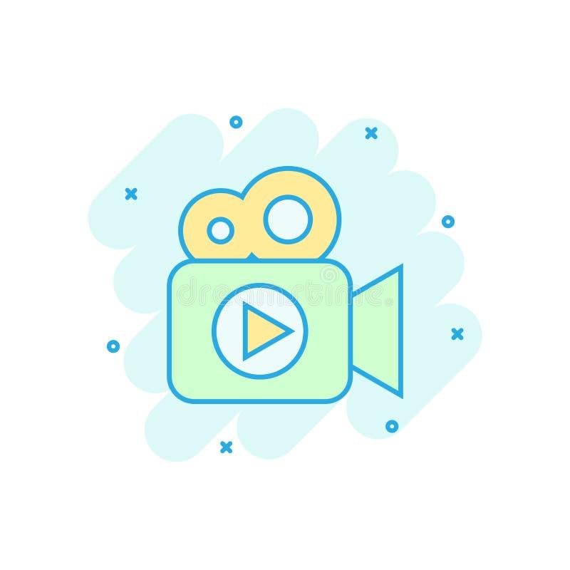 Kamera wideo ikona w komiczka stylu Film sztuki kreskówki ilustracji wektorowy piktogram Wideo leje się biznesowy pojęcia pluśnię ilustracji
