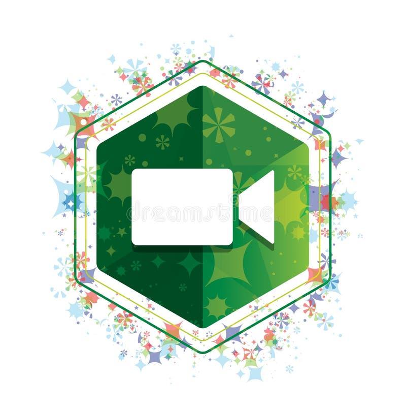 Kamera wideo ikony rośliien wzoru zieleni sześciokąta kwiecisty guzik ilustracja wektor
