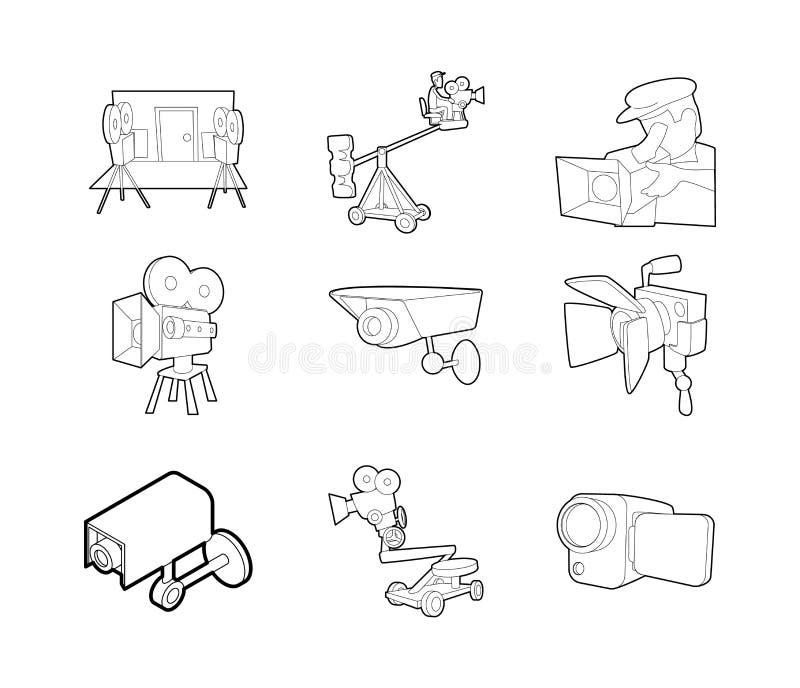 Kamera wideo ikony set, konturu styl ilustracja wektor