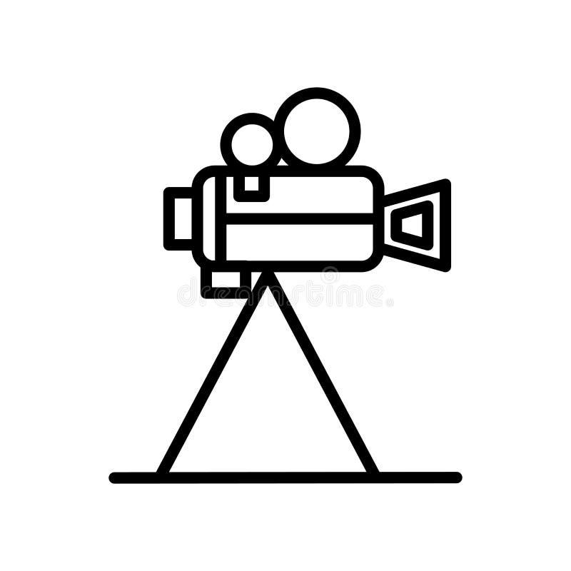 Kamera wideo ikony wektor odizolowywający na tle, kamera wideo znaku, linii i konturów elementach w liniowym stylu białych, ilustracja wektor