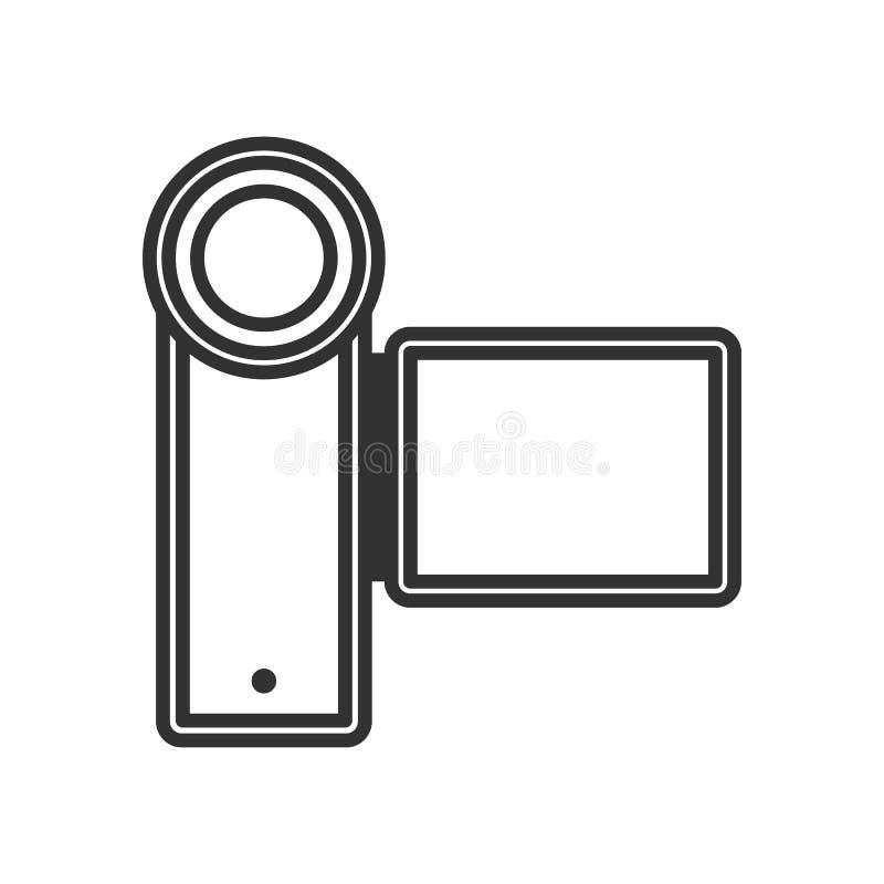 Kamera Wideo konturu Płaska ikona na bielu ilustracji