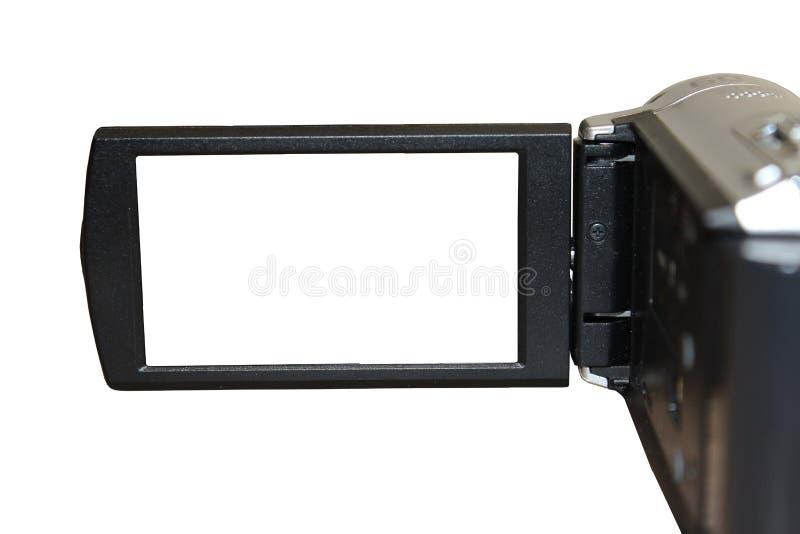 Kamera wideo LCD ekran odizolowywający na bielu obraz stock