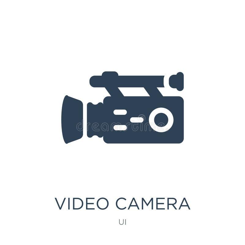 kamera wideo od bocznego widoku ikony w modnym projekta stylu kamera wideo od bocznego widoku ikony odizolowywającej na białym tl ilustracja wektor