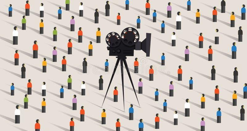 Kamera wideo online ogólnospołeczna wektorowa ilustracja odizolowywająca tłoczy się ludzi społeczności na interneta dopatrywania  royalty ilustracja