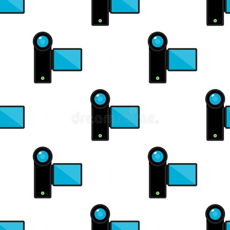 Kamera Wideo Płaskiej ikony Bezszwowy wzór ilustracji