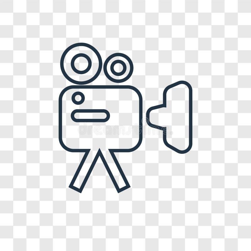 Kamera Wideo pojęcia wektorowa liniowa ikona odizolowywająca na przejrzystym ilustracji