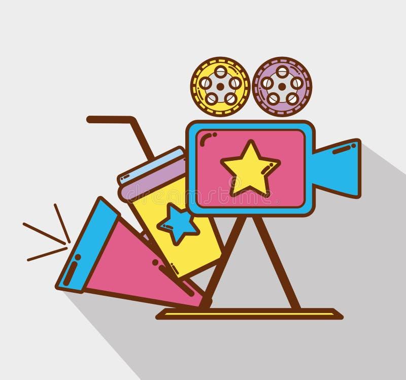 Kamera wideo z rogiem, sodą i filmstrips, ilustracji
