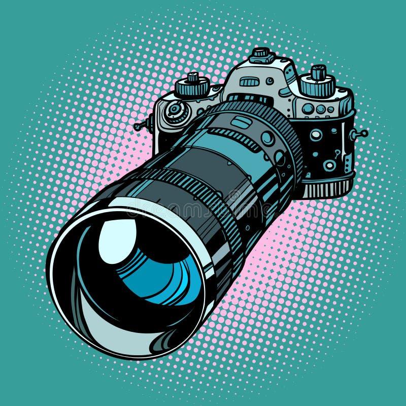 Kamera z telephoto obiektywem royalty ilustracja