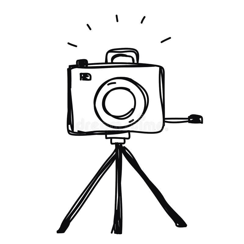 Kamera z tripod ręka rysującym wektorem royalty ilustracja