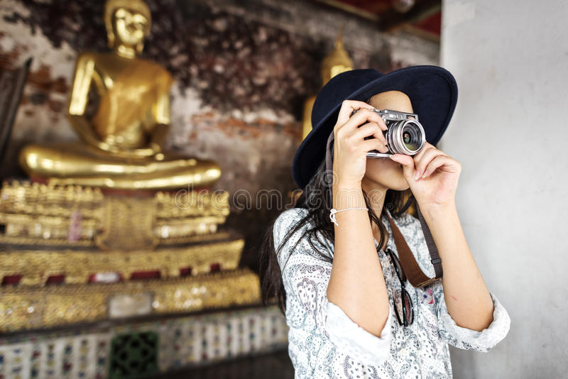 KamerafotografInspiration Journey Style begrepp royaltyfria bilder