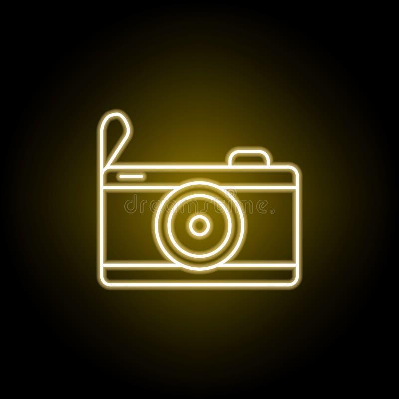 Kameraikone in der Neonart Element der Reiseillustration Zeichen und Symbole k?nnen f?r Netz, Logo, mobiler App, UI, UX verwendet vektor abbildung