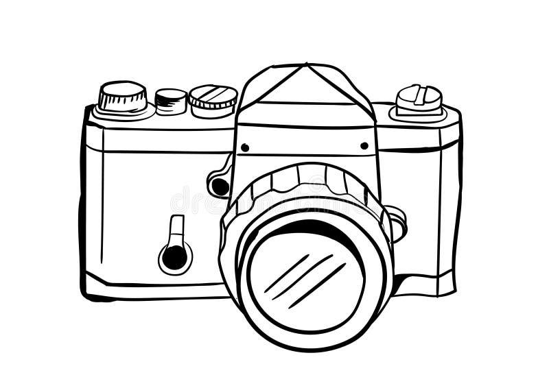 Kameraikonenvektor mit Gekritzelart lizenzfreie stockfotos