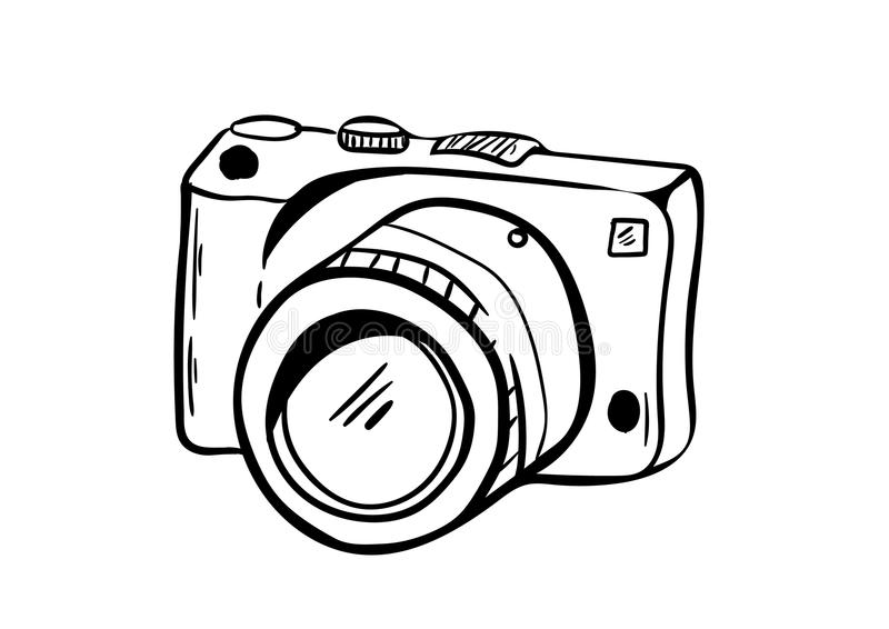 Kameraikonenvektor mit Gekritzelart lizenzfreies stockbild