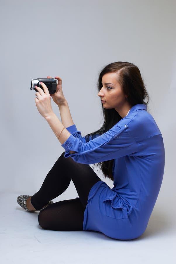 kamerakvinnabarn arkivfoto