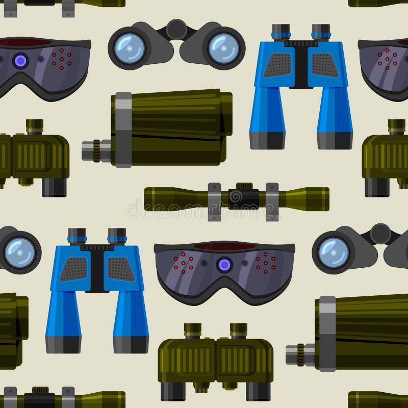 Kameralins och kikareexponeringsglas, kikare för optisk utrustning för apparat för spypyglassoptik okulär, sömlös teleskopvektor stock illustrationer