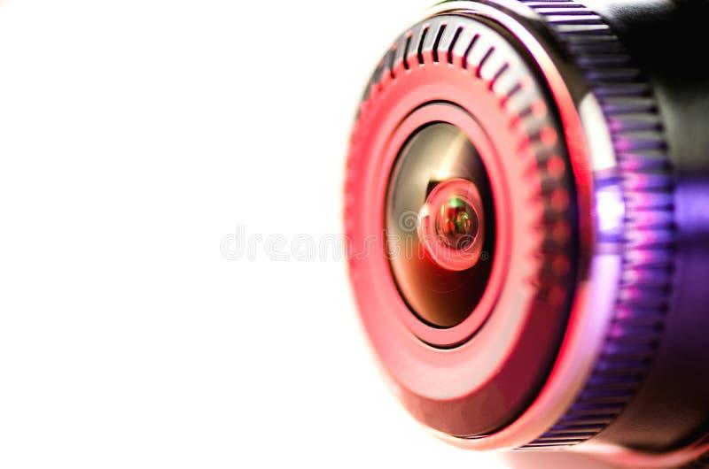 Kameralinsen med kulört ljus, nära foto arkivfoton