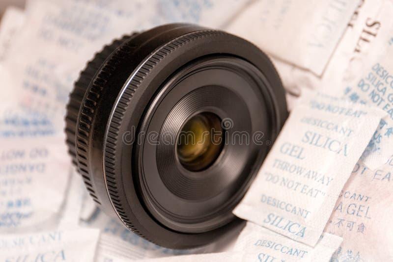 Kameralinsen på kiseldioxid stelnar arkivfoto