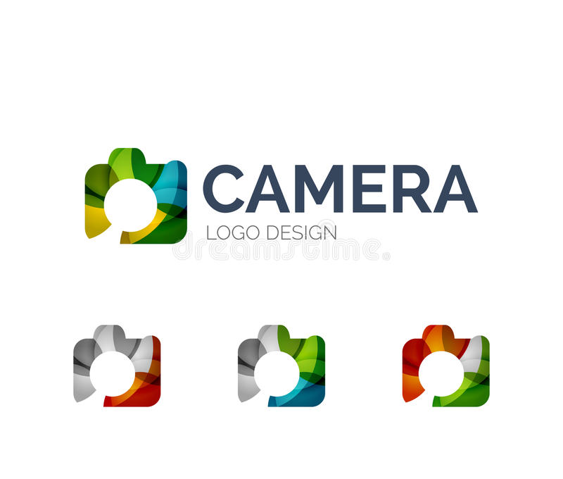 Kameralogodesign gemacht von den Farbstücken vektor abbildung