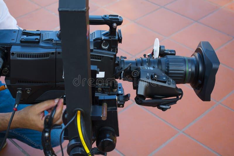 Kameramannüberwachungseinrichtung der Kamera im Fernsehrundfunk stockbilder