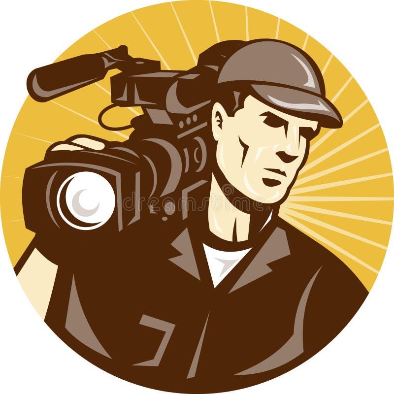 Kameramann-Film-Besatzung-Provideofilm-Kamera vektor abbildung