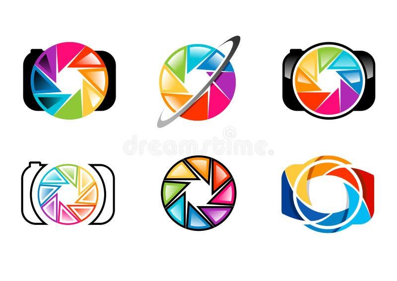 kameran logoen, linsen, öppningen, slutare, regnbåge, colorize, uppsättningen av designen för vektorn för symbolen för symbolet f stock illustrationer