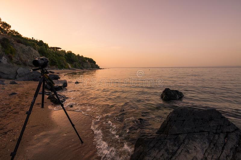 Kameran Nikon D7100 ?r p? en tripodavantgarde PRO-Alta och en stor mm f?r tele-Lens Sigma 18-250 arkivbilder