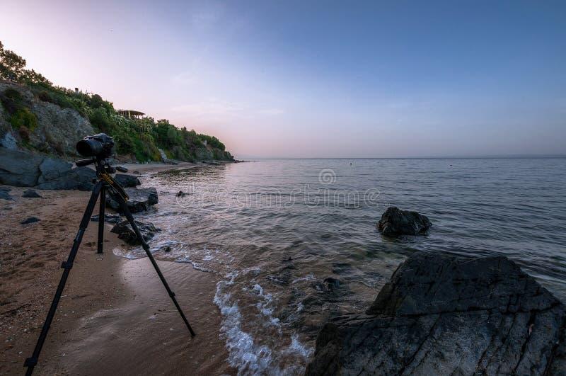 Kameran Nikon D7100 ?r p? en tripodavantgarde PRO-Alta och en stor mm f?r tele-Lens Sigma 18-250 arkivfoto