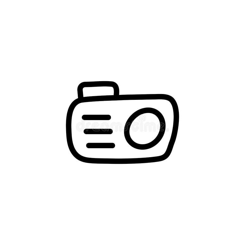 Kameraradeikon i Flat Style Vector for Apps, UI, Webbplatser Illustration av svart ikon royaltyfri illustrationer