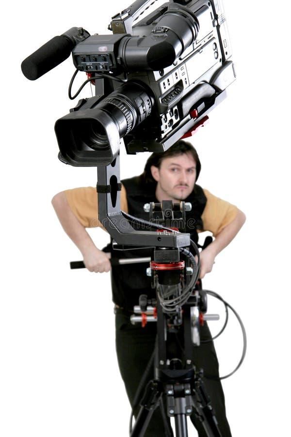 Kamerarecorder auf Kran stockbild