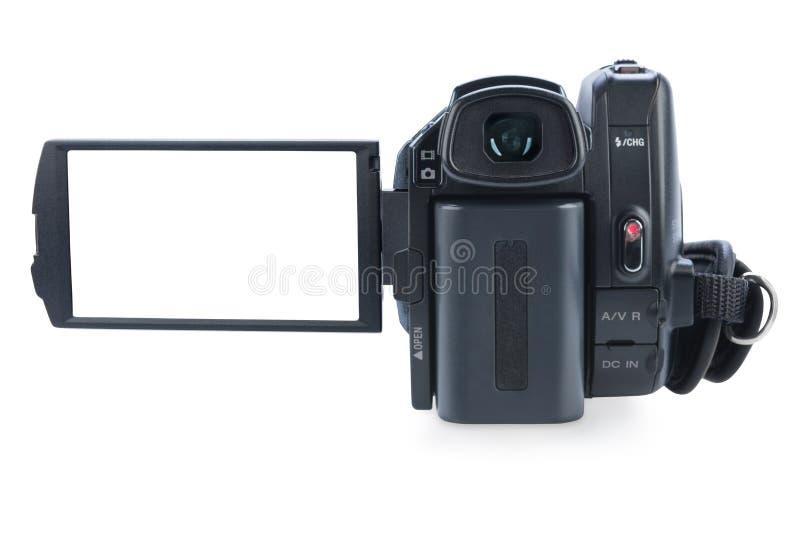 Kamerarecorder mit offener lcd-Anzeige, lokalisiert auf weißem Hintergrund. lizenzfreie stockfotos