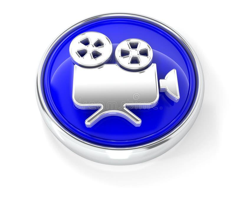 Kamerarecorderikone auf glattem blauem rundem Knopf lizenzfreie abbildung