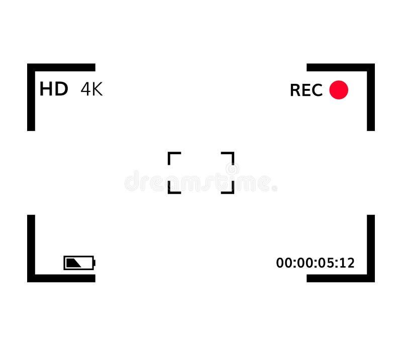Kamerasiktsupphittare som fokuserar sökaren för vektor för skärm för skärminspelning den videopd royaltyfri illustrationer