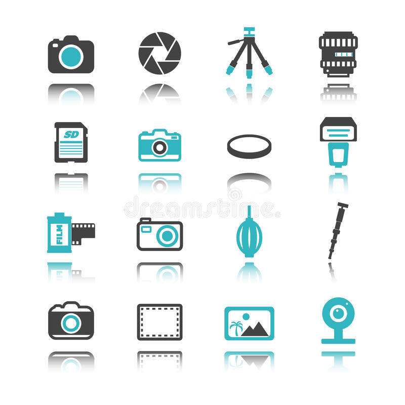 Kamerasymboler med reflexion vektor illustrationer