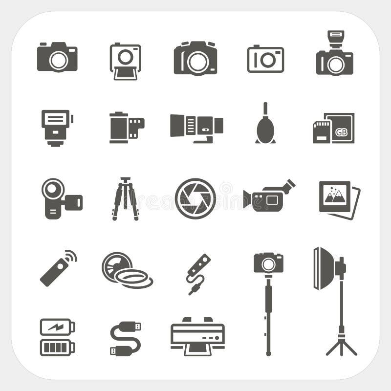 Kamerasymbols- och för kameratillbehörsymboler uppsättning stock illustrationer