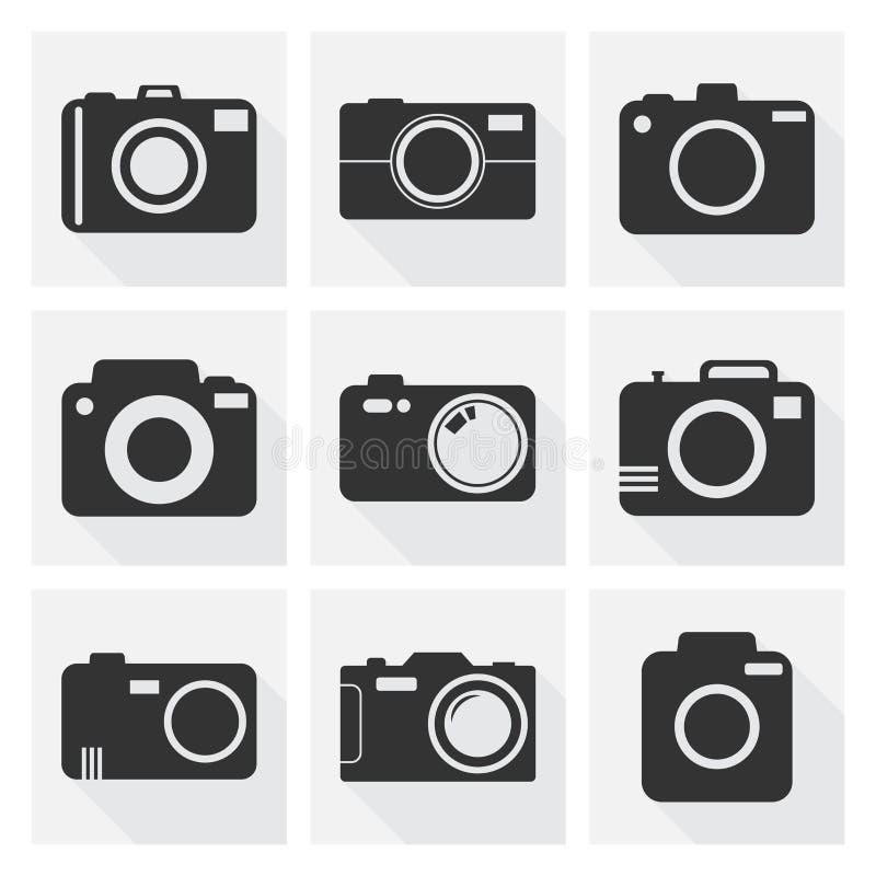 Kamerasymbolsuppsättning på vit bakgrund med lång skugga Vektor dåligt vektor illustrationer