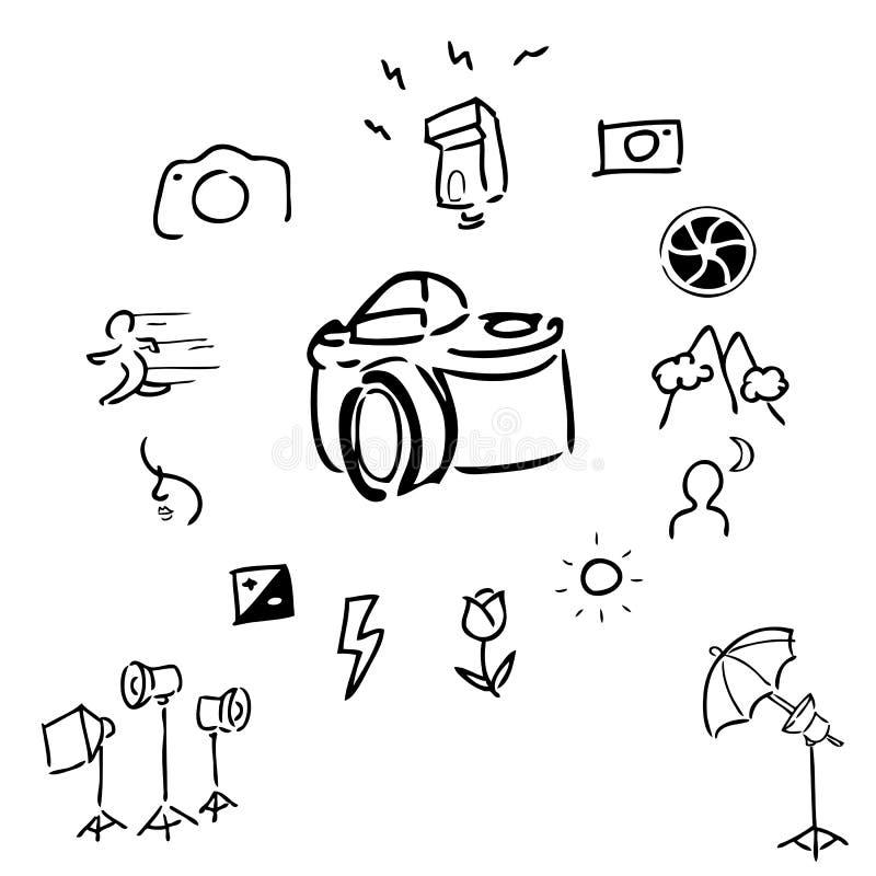 Kameratillbehör som drar symboler stock illustrationer