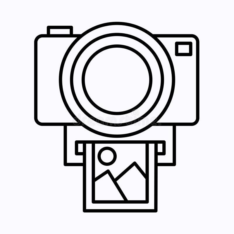 Kameravektorsymbol Fotolinje vektorsymbol för websites och mobil minimalistic plan design royaltyfri fotografi