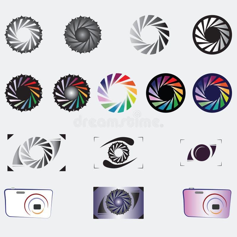 Kameraverschlussöffnungs-Ikonensammlungen stockfotos