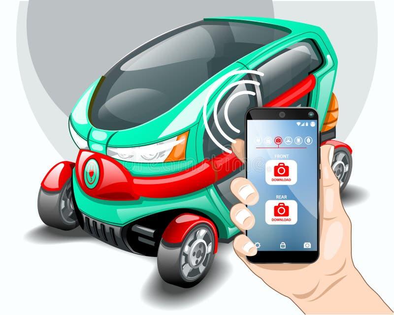 Kamerawahlen des Elektroautos Vorder- und Rückseite lizenzfreie abbildung