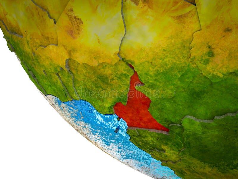 Kameroen op 3D Aarde royalty-vrije illustratie