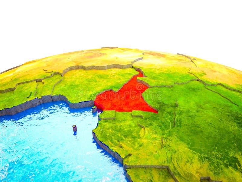 Kameroen op 3D Aarde stock illustratie