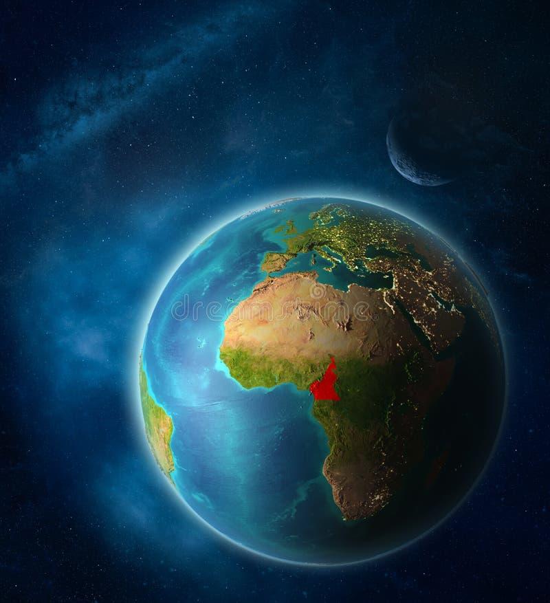 Kameroen ter wereld van ruimte royalty-vrije illustratie