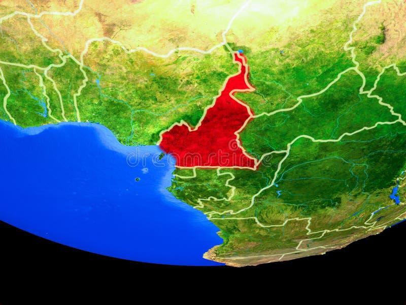 Kameroen van ruimte ter wereld royalty-vrije illustratie