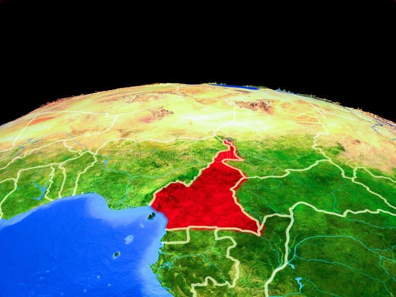 Kameroen van ruimte ter wereld stock illustratie