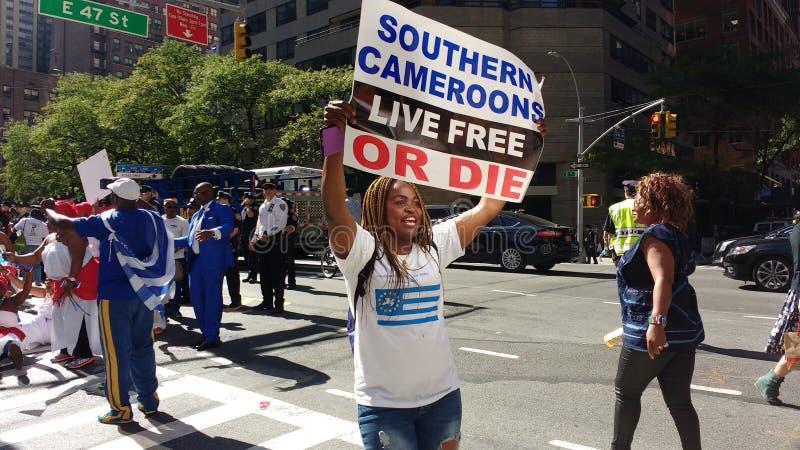 Kameroen, Zuidelijke Cameroons/Ambazonia-Protesteerders, NYC, NY, de V.S. royalty-vrije stock fotografie