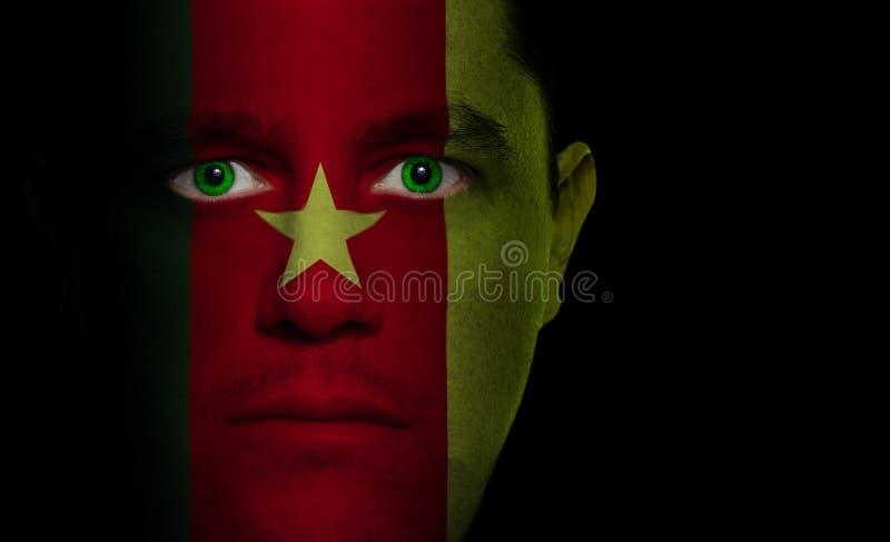 Kameroenese Vlag - Mannelijk Gezicht stock afbeelding
