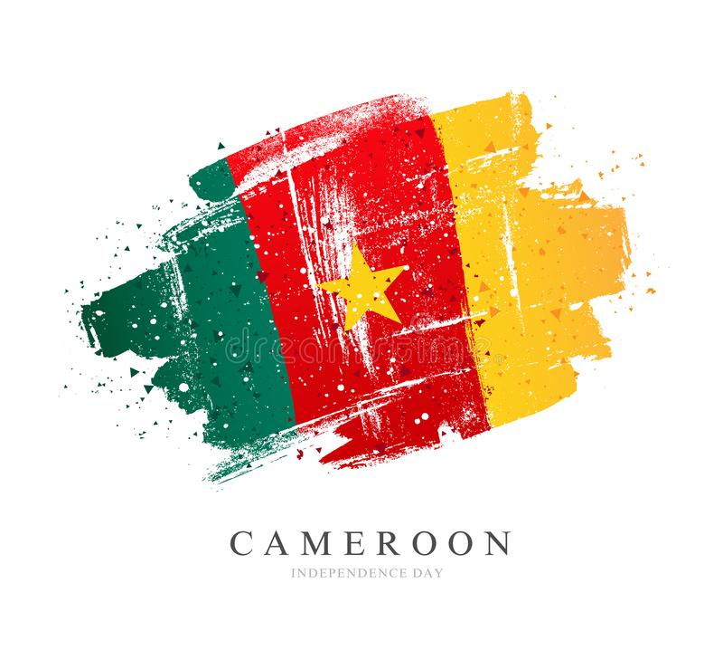 kamerun flag? t?a ilustracyjny rekinu wektoru biel ilustracji